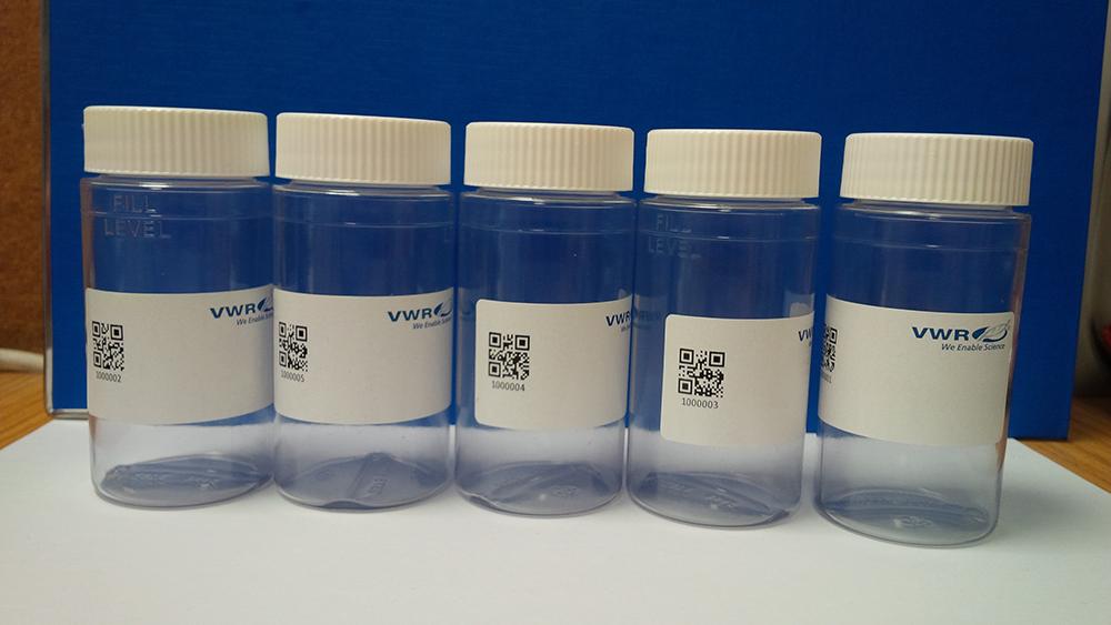 Sample bottle,plastic,100ml,barcode,MICS