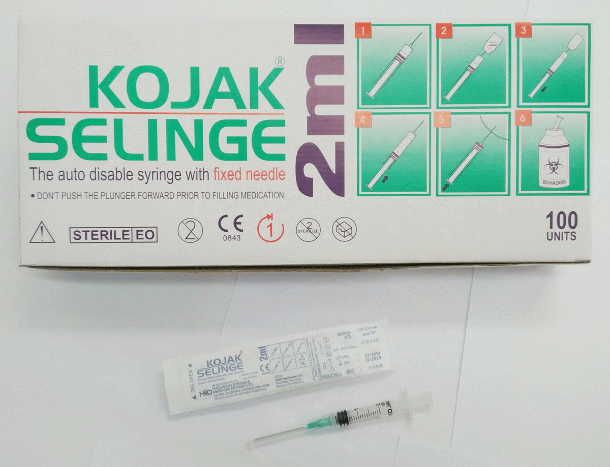 Syringe,RUP,2ml,w/fixed ndl/BOX-100