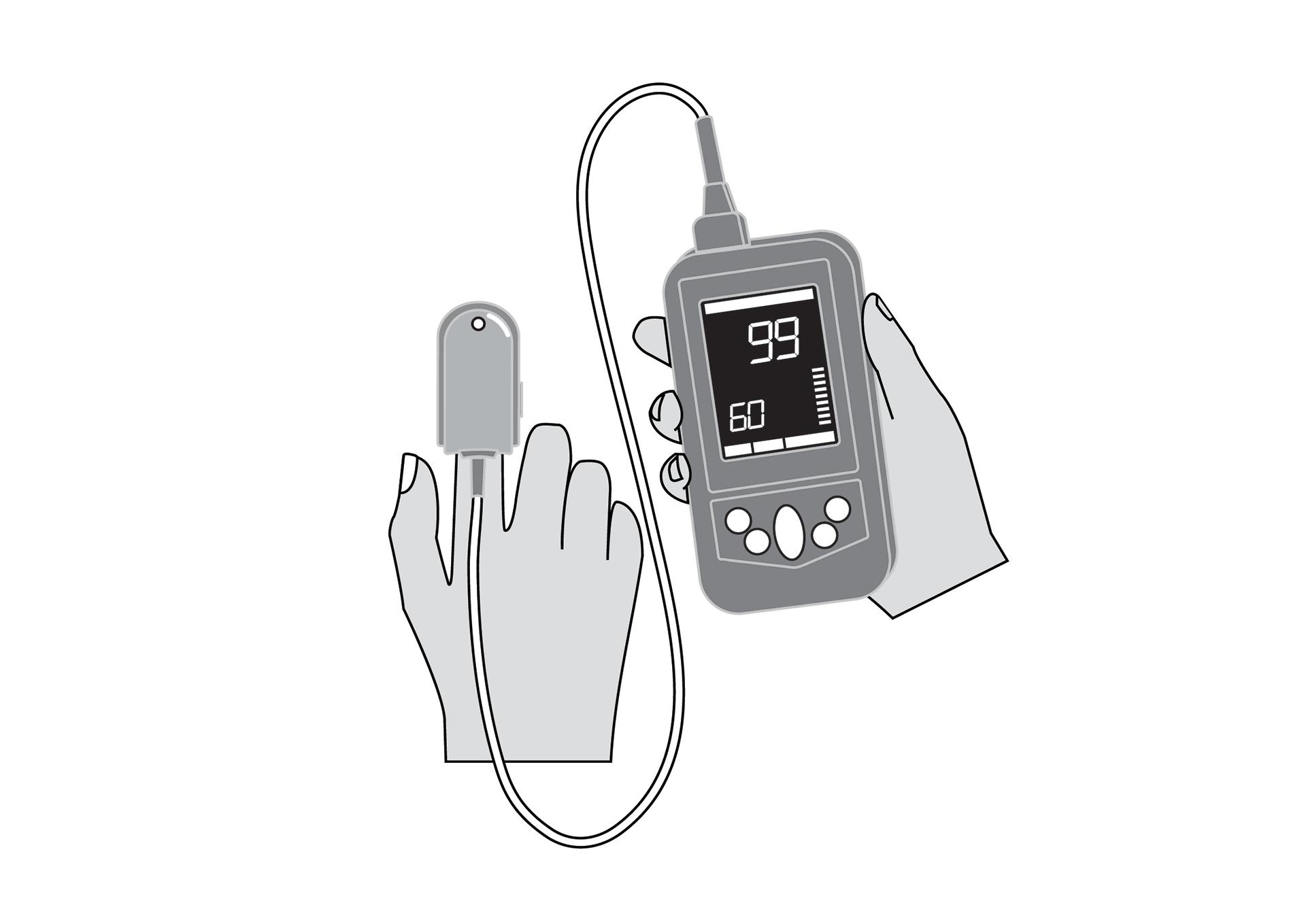Pulse oximeter,handheld, incl.resp. rate