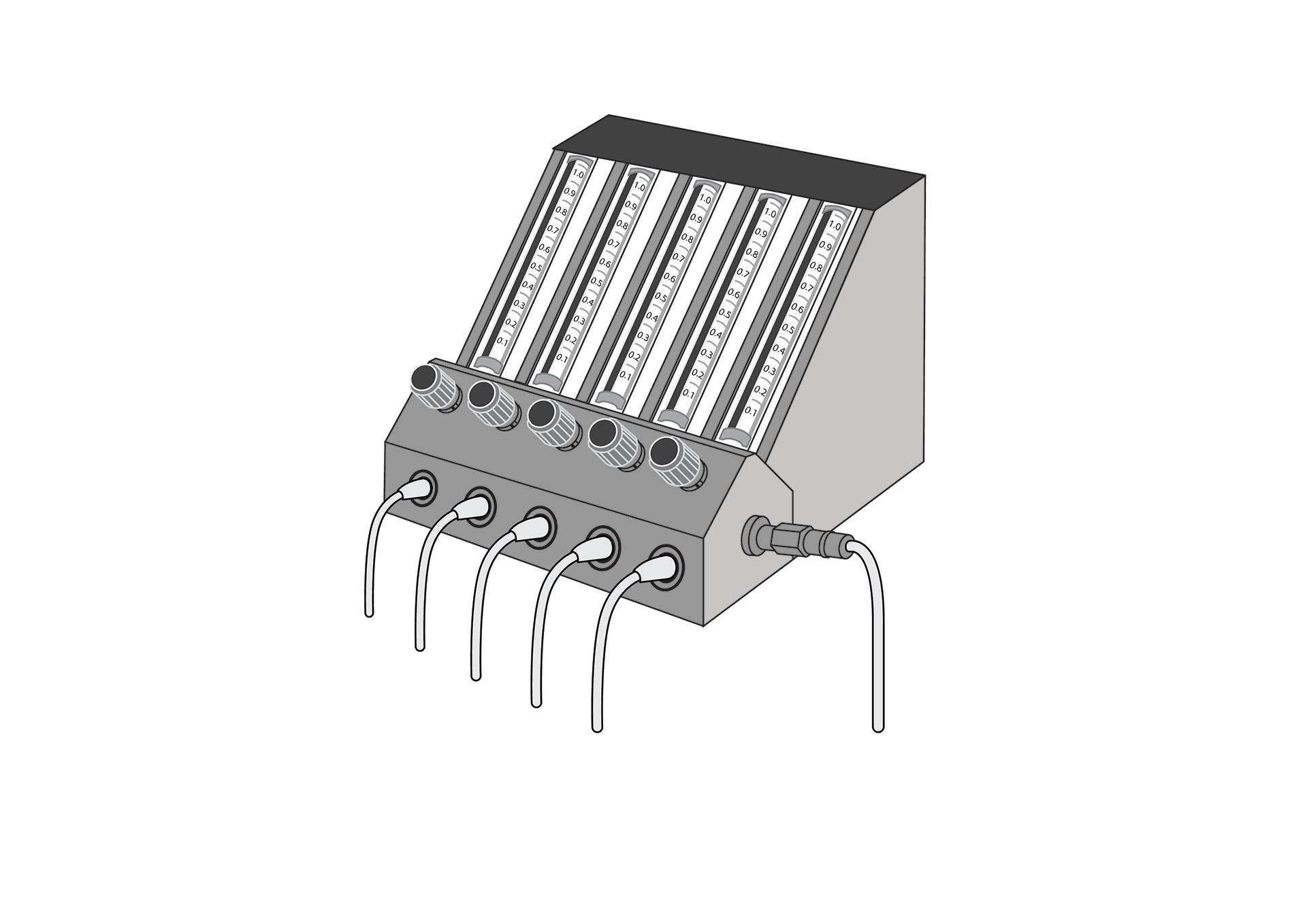Flow splitter,for oxygen concentrator