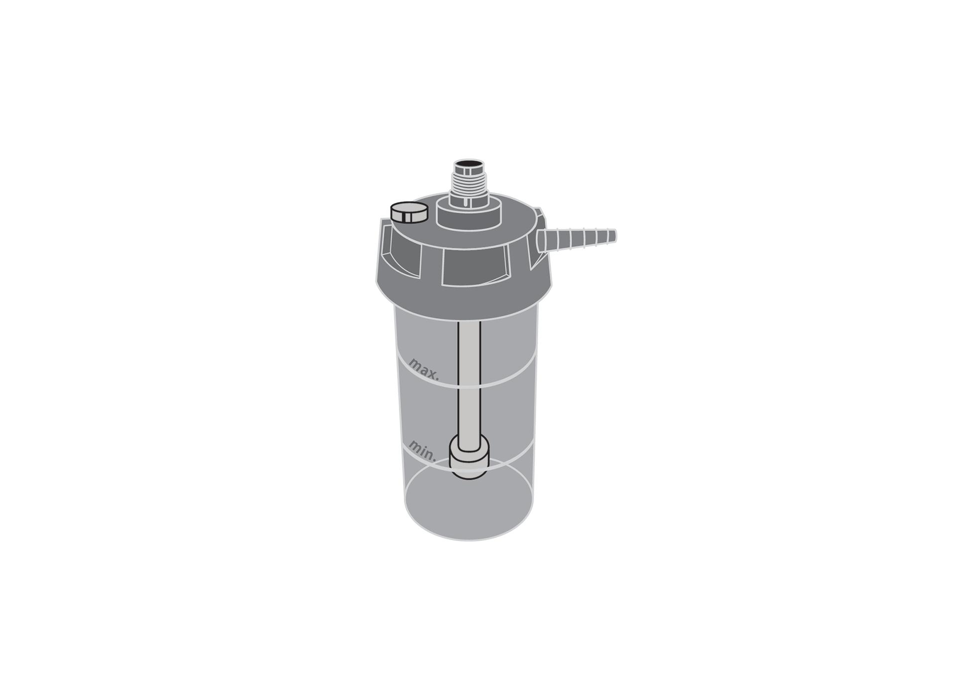 Humidifier bottle, nonheated, reusable