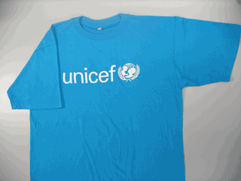 UNICEF T-shirt,cyan blue,cotton,M