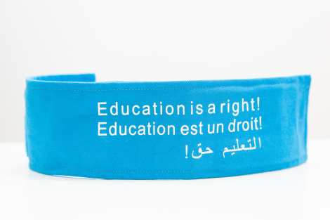 Armband, Education, cyan blue, cloth.