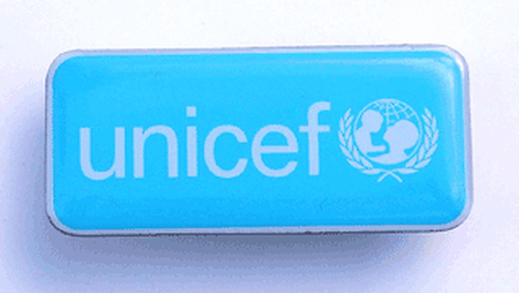 Rectangular UNICEF lapel pin,38 mm long