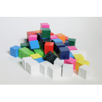 Cubes,wood or plast.,coloured,set of 100