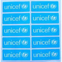 Decal,UNICEF,equip.,small,sheet of 10